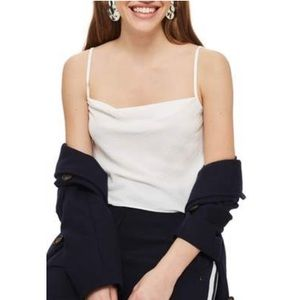 NWT Top Shop 4 White Cowl Neck Camisole Tank Top